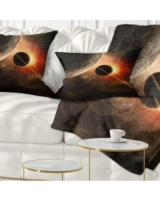 Designart 'Planet with Rings' Contemporary Throw Pillow (Rectangle - 12 in. x 20 in. - Medium)
