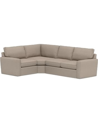 Pearce Square Arm Slipcovered Right Arm 3-Piece Wedge Sectional, Down Blend Wrapped Cushions, Sunbrella(R) Performance Sahara Weave Mushroom