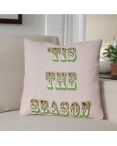 """The Holiday Aisle Tis the Season Indoor/Outdoor Throw Pillow HLDY1187 Size: 18"""" H x 18"""" W x 4"""" D, Color: Pink / Red / Green"""