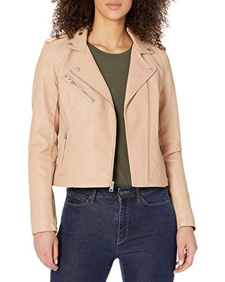 Levi's Women's Faux Leather Classic Motorcycle Jacket (Regular and Plus Sizes),Beige,2X