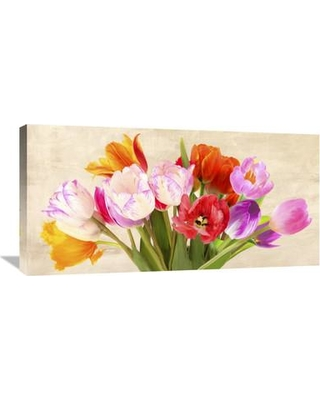 """Global Gallery 'Tulips in Spring' by Luca Villa Painting Print on Wrapped Canvas GCS-460898-1224-142 / GCS-460898-1836-142 Size: 18"""" H x 36"""" W x 1.5"""" D"""