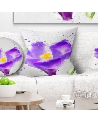 "East Urban Home Floral Large Violet Crocus Watercolor Pillow FUSI5623 Size: 18"" x 18"" Product Type: Throw Pillow"