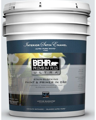 BEHR ULTRA 5 gal. #W-F-520 Ash White Satin Enamel Interior Paint and Primer in One