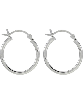 Sterling Silver Round Thin Hoop Earring - Silver