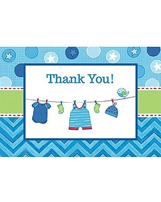 """Amscan, Shower with Love Boy Postcard Thank You Cards, Multicolor Party Supplies, 4 1/4"""" x 6 1/4"""", Blue"""