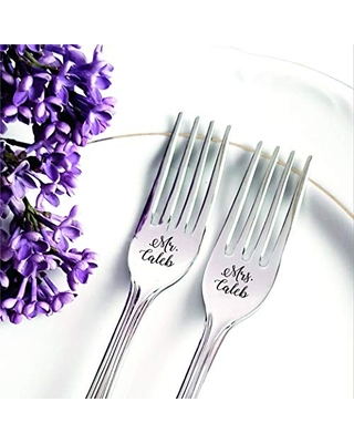 Silver Engraved Wedding Forks, Personalized Mr Mrs Dining Set, Anniversary Engagement Party Housewarming Keepsake Kitchen Gift