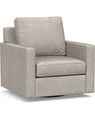 Cameron Square Arm Leather Swivel Armchair, Polyester Wrapped Cushions, Statesville Pebble