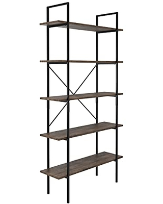5-Tier Bookshelf – Open Industrial Style Etagere Wooden Shelving – Freestanding Bookcase for Home or Office by Lavish Home (Brown Woodgrain)