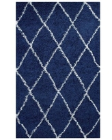 Modway Toryn Diamond Lattice 5x8 Shag Area Rug in Navy and Ivory