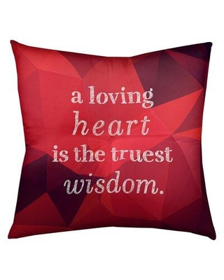 """East Urban Home Love and Wisdom Throw Pillow FCKa9620 Size: 30"""" H x 30"""" W Color: Ruby"""