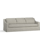 "York Slope Arm Slipcovered Deep Seat Grand Sofa 95"" with Bench Cushion, Down Blend Wrapped Cushions, Premium Performance Basketweave Light Gray"