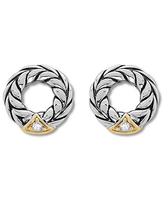 Circle Stud Earrings Diamond Accents Sterling Silver/14K Gold