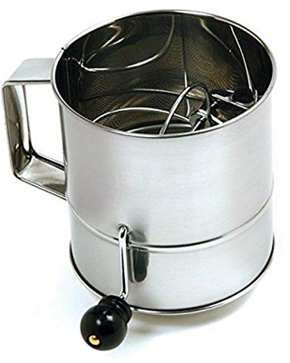Norpro Polished 3-Cup Stainless Steel Hand Crank Sifter, 24 ounces, As Shown