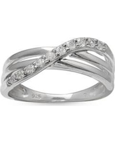 Belk Silverworks White Simply Sterling Pave Cubic Zirconia Polished Crossover Band-Size 7