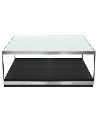 Manchester Collection LCMHCOBL Contemporary Coffee Table with Polished Stainless Steel and Glass