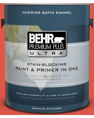 BEHR Premium Plus Ultra 1 gal. #T12-7 Red Wire Satin Enamel Interior Paint and Primer in One