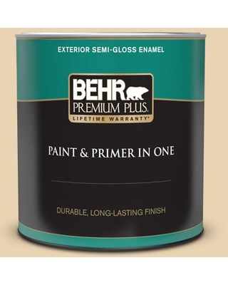 BEHR PREMIUM PLUS 1 qt. #S300-2 Powdered Gold Semi-Gloss Enamel Exterior Paint and Primer in One