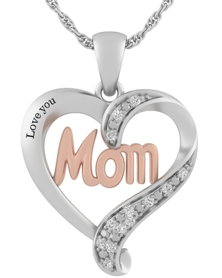 Jared The Galleria Of Jewelry 1/20 Ct. tw Diamond Sterling Silver/10k Heart Mom Necklace