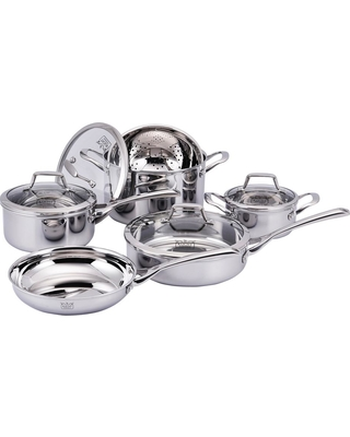 Kucht Culinary Professional 3-Ply Stainless Steel 10-Piece Cookware Set, Silver