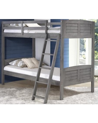 """2010TTAG 78"""" Twin over Twin Louver Bunkbed with Built in Ladder Slat Headboard and Footboard in Antique"""