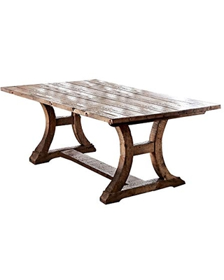 Benjara Wooden Dining Table with Curved Pedestal Base, Brown