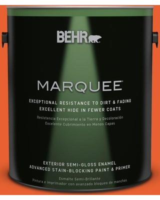 BEHR MARQUEE 1 gal. #S-G-230 Startling Orange Semi-Gloss Enamel Exterior Paint and Primer in One