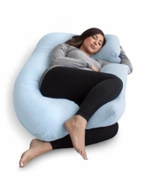 Pharmedoc Pregnancy Pillow with Jersey Cover, U Shaped Full Body Pillow - Light Blue