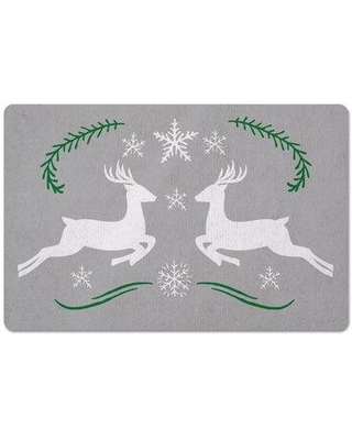 The Holiday Aisle Millen Reindeer Snowflakes Kitchen Mat X113810885
