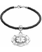 """""""Insignia Collection Sterling Silver and Leather Maltese Cross and Star of Life Charm Bracelet, Women's, Size: 7.5"""""""""""