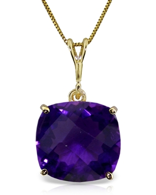 3.6 Carat 14K Gold Necklace Natural Checkerboard Cut Purple Amethyst