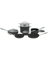 Cuisinart 11 Piece Dishwasher Safe Cookware Set with Cover, Black