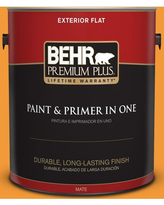 BEHR Premium Plus 1 gal. #280B-6 Amber Glow Flat Exterior Paint and Primer in One
