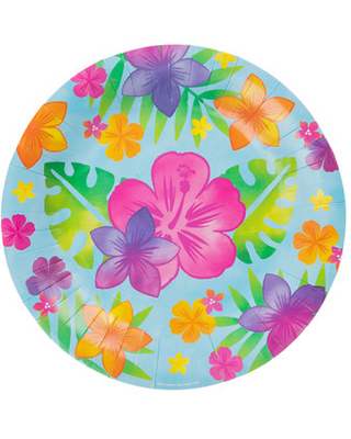 Amazing Spring Deals Hibiscus Flower Palm Leaf Paper Plates Large