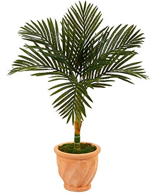 3.5ft. Golden Cane Artificial Palm Tree in Terracotta Planter