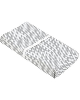 """Kushies Baby Flannel Fitted Changing Pad Cover, Cotton in Grey Chevron, Size 33""""H X 17""""W 
