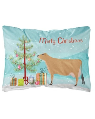 Holladay Jersey Cow Christmas Indoor/Outdoor Throw Pillow The Holiday Aisle