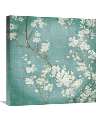 "East Urban Home 'White Cherry Blossoms II Aged no Bird' Print ESUM7250 Size: 24"" H x 24"" W Format: Wrapped Canvas"