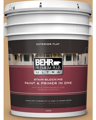 BEHR ULTRA 5 gal. Home Decorators Collection #HDC-AC-13 Butter Nut Flat Exterior Paint & Primer