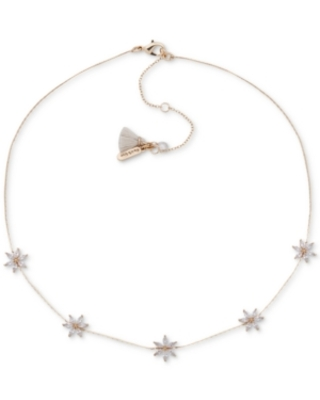 """lonna & lilly Gold-Tone Crystal Flower Frontal Necklace, 16"""" + 3"""" extender"""