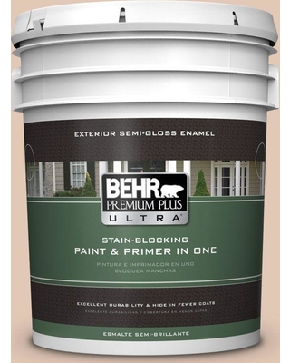BEHR Premium Plus Ultra 5 gal. #290E-2 Oat Cake Semi-Gloss Enamel Exterior Paint and Primer in One