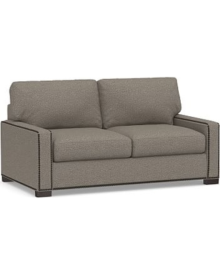 """Turner Square Arm Upholstered Loveseat 72"""" with Bronze Nailheads, Down Blend Wrapped Cushions, Performance Chateau Basketweave Light Gray"""