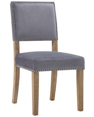 Oblige Collection EEI-2547-GRY Dining Chair with Nailhead Trim Dense Foam Padding Non-Marking Foot Caps Solid Natural Rubberwood Legs and Velvet