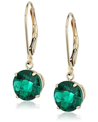 10k Yellow Gold Round Checkerboard Cut Created Emerald Leverback Earrings (8mm)