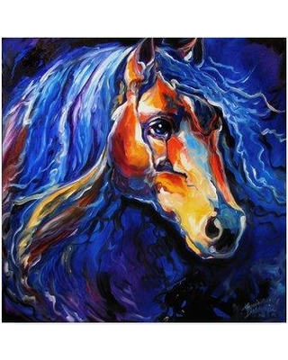 "Trademark Fine Art 'Friesian Night' Acrylic Painting Print on Wrapped Canvas ALI34621-CGG Size: 14"" H x 14"" W x 2"" D"