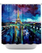 DiaNocheDesigns Parisian Night Eiffel Tower Shower Curtain SHO-AjaAnnParisianNightEiffelTower