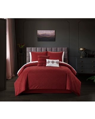 Chic Home Mya 9 Piece Comforter Set Embossed Medallion Scroll Pattern Design Bed In A Bag - Sheet Set Decorative Pillows Shams Included, King, Brick Red