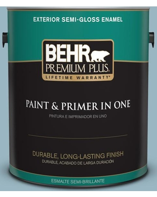 BEHR PREMIUM PLUS 1 gal. #S470-3 Peaceful Blue Semi-Gloss Enamel Exterior Paint and Primer in One