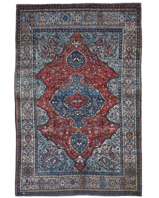 """Shahbanu Rugs Red Antique Persian Sarouk Fereghan Good Condition Soft Hand Knotted Oriental Rug (4'2"""" x 6'6"""") - 4'2"""" x 6'6"""" (Red - 4'2"""" x 6'6"""")"""