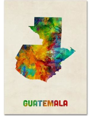 """Trademark Art 'Guatemala Watercolor Map' Graphic Art on Wrapped Canvas MT0746-C Size: 24"""" H x 18"""" W x 2"""" D"""