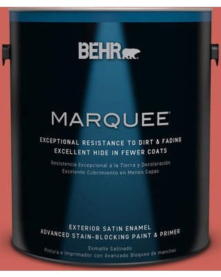 BEHR MARQUEE 1 gal. #PPU1-5A Red Coral Satin Enamel Exterior Paint and Primer in One